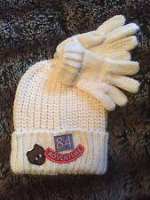 M&S Kids Children's Knitted Hat & Gloves Set - White - 3-6 Years / Eur 116 - New