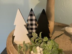 Tiered Tray Decor Farmhouse Wood Plaid Black White Buffalo Check Trees Set of 3
