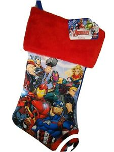 Avenger Christmas Stocking  16 inches New  Red Furry top