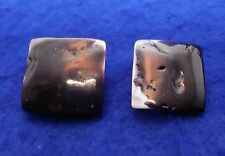 """Vintage Abalone / Mother of Pearl Square Earrings - Clip On - .85"""" - 1960's"""