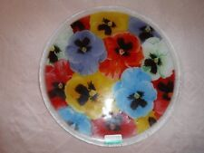"Peggy Karr Pansy Collage Fused Art Glass Plate 11-1/4"" Round, Displayed Only"