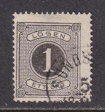 Sweden J1 Used 1874 1o Black Postage Due Stamp Perf 14 Scv $40.00