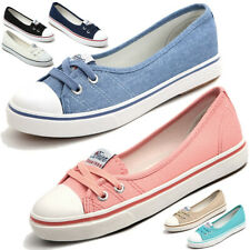 Womens Slip On Loafers Peas Shoes Canvas Flats Boat Casual Walking Sneakers Blue