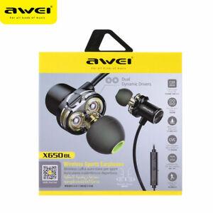 Awei X680BL Sweatproof Bluetooth Headphones Dual Driver Magnet Earphone w/ Mic