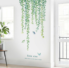 Hanging Green Leaves Vines Butterflies Removable Wall Decals Home Decor DIY