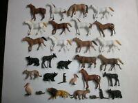 30 Antiguo Hausser Elastolin Plástico Figuras Animales Salvajes Zoo de Granja