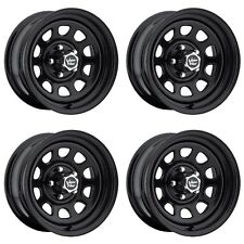 "Set 4 17"" Vision 84 D Window Black Rims 17x8 6x5.5 -12mm Chevy GMC K1500 6 Lug"