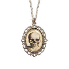 Anatomical skull necklace pendant gothic goth steampunk cameo taxidermy