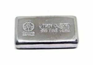 5 Troy oz Lead Bar .999 Fine Bullion Bar 5oz Diversify Your Metal Portfolio!