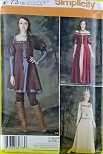 New Medieval Woman Queen Sewing Pattern Dress Gown Crown Simplicity 1773 14-22