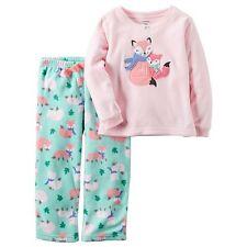 NWT Carter's Girls 4T Long Sleeve Warm Fleece Pajamas PINK & MINT Foxes  #330617