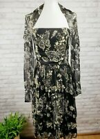 Blutique size 4 cocktail dress strapless w/ matching shawl black butterfly print