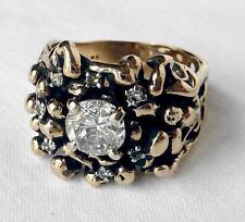 Handmade 14k Modernist 1.14CT Diamond Wide Cigar Band Nugget Ring~BIG 1CT CENTER