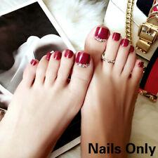 Glitter False Toe Nail Acrylic Full Finished Fake Nails Sticker Tips 24PCS Craft