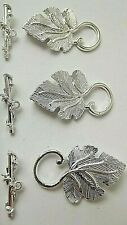 3 SILVER PLATED  LEAF TOGGLE CLASPS 25 MM BRACELET MAKING CHARMS PENDANT