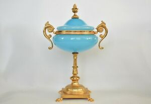 Antique French Portieux Blue Opaline Glass Gilt Metal Compote / Bonbon Dish
