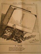 Caricature 1873 - Galerie Charivarique M. Littré Gros dictionnaire sur le dos
