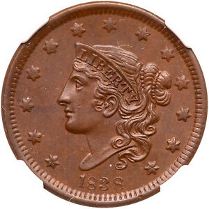 1838 N-6 NGC MS 63 BN CAC Matron or Coronet Head Large Cent Coin 1c