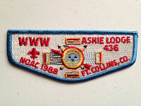 ASHIE OA LODGE 436 SCOUT PATCH SERVICE FLAP NOAC 1988 DELEGATE FT COLLINS CO