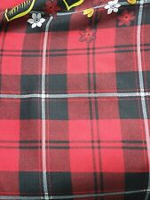 Polycotton Fabric Material Red colour Sheet Craft 114cm wide tartan print Rose