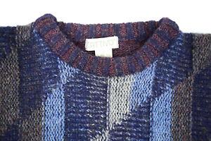 Vintage Wool Argyle Crewneck Pullover Sweater M/L 80s Kurt Cobain Grunge