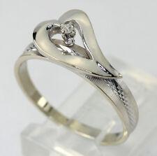 Diamond heart ring 18K white gold solitaire VS round .03C promise pre-engagement