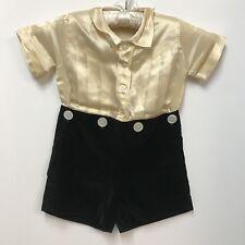 VTG 1920s Boys Outfit Beige Silk Shirt Black Velvet Shorts Waist Buttons Size 4