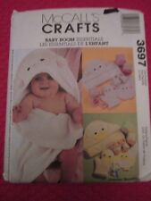 McCALL 3697 INFANTS' Hooded BATH TOWEL Wash Mitt BOOTIES BIB SEW PATTERN Uncut