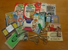 Lot Of 25 Vintage Sewing Items, Patches, Scissors, Needles, Thimbles, Buttons