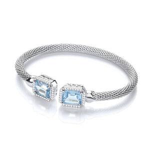 JJAZ Sterling Silver Blue Topaz Emerald Cut Cubic Zirconia Mesh Bracelet Bangle
