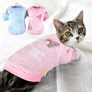 Cat Christmas Pajamas for Pets Small Dog Clothes Pyjamas Fleece Vest Blue Pink