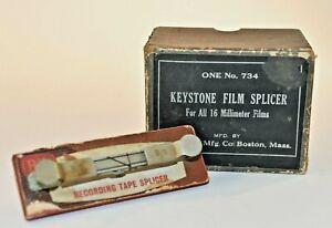 Keystone Film Splicer #734 8/16 Millimeter Film In Orig Box  Bottles & BIB Splic