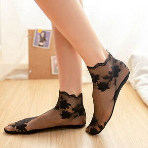 Orignal Quailty Ladies Women Floral Thin Lace Elastic Non-slip Shallow Socks NEW