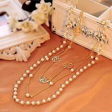 Fashion Jewelry Pendant Gold Plating Chain Multilayer Statement Pearl Necklace