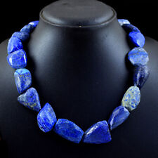 875.00 Cts Natural Untreated Blue Lapis Lazuli Faceted Beads Necklace NK 53E113
