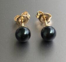 Schwarze Tahiti Perlen 585 Gold Damen Ohrringe Ohrstecker