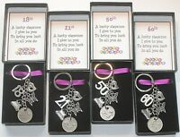 Sixpence Keyring Keepsake Gift Happy Birthday 18th 21st 30th 40th 50th 60th etc
