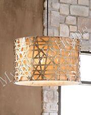 Alita METAL BASKETWEAVE Chandelier NEIMAN MARCUS Hanging Light Drum Pendant Luxe