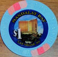 Old $1 MANDALAY BAY Casino Poker Chip Vintage House Mold Las Vegas NV 1999
