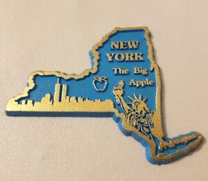 Vtg New York Skyline The Big Apple Rubber Réfrigérateur Aimant Souvenir Voyage