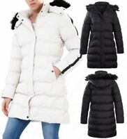 Womens Padded Parka Coat Faux Fur Hooded Black Size 8 10 12 14 16