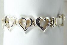 "Inspiration Bracelet Faith,Hope,Love Heart Cross Shaped Silvertone Link Chain 7"""