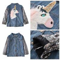 Girls Kids Autumn Jeans Jacket Long Sleeves Cartoon Casual Wear Coats Outerwear