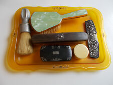 Vintage Art Deco Celluloid Vanity Dresser Set Tray Trinket Box Brush Accessories