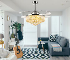 Silver Foldable Crystal Chandelier Ceiling Fan with Dimmable LED Remote Control