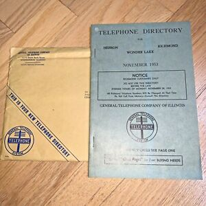 1953 TELEPHONE DIRECTORY for HEBRON / RICHMOND / WONDER LAKE Illinois Unused
