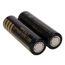 2pcs New 18650 3.7v Rechargeable Li-ion Flat Top Battery Black IT 4000