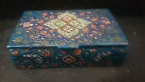 SMALL CUTE ANTIQUE HAND PAINTED BONE BOX {IN GOOD CONDITION}