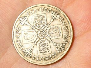 1930 Florin George V Two Shillings  Silver Coin #SP106