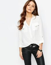 New Look Ladies Gold Ring Pocket Shirt in Cream UK 8